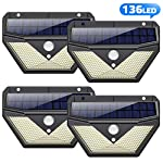 [4 Pack] Solar Lights Outdoor, Trswyop 136LED Solar Security Lights Motion Sensor with 3 Lighting Modes, 270°Wide Angle…