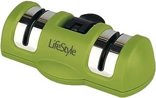 Life Style - Afilador Doble de Cuchillos con Ventosa - Manual - 13*7*4 cm - Verde