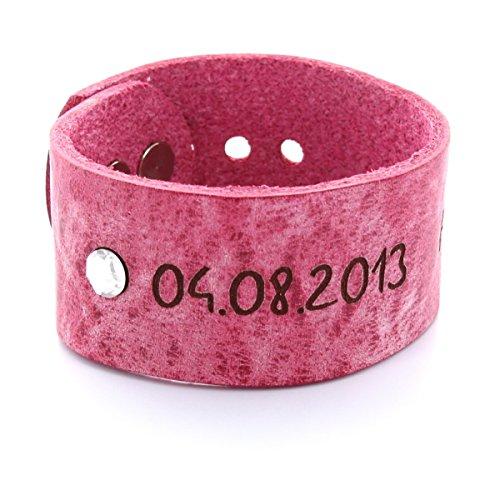 Area17 Mutterschmuck Vollrind Lederarmband Pink mit Geburtsstein - mit Wunsch Gravur - small