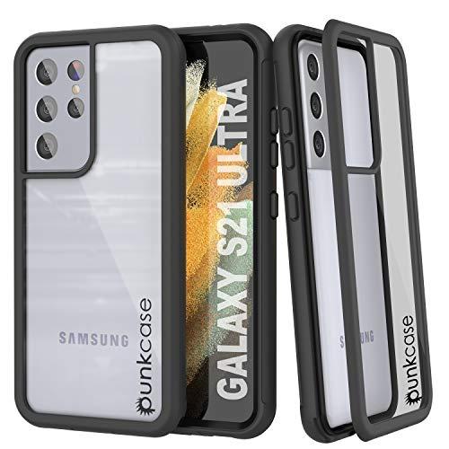 Punkcase Galaxy S21 Ultra Hülle [Spartan-Serie] Klare robuste Schutzhülle mit eingebautem Bildschirmschutz | Ultra Slim 360 R&umschutz kompatibel mit Samsung Galaxy S21 Ultra (17,3 cm) [Schwarz]