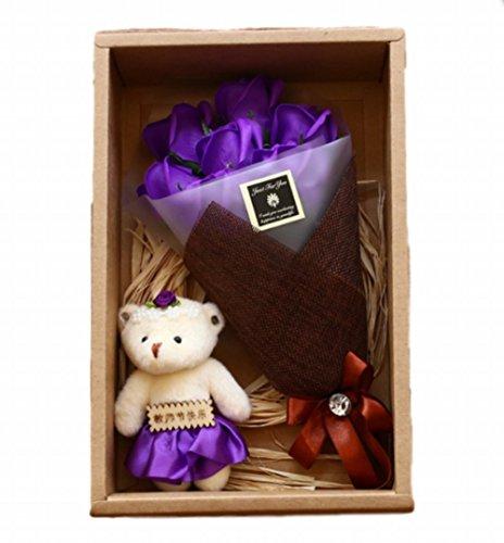 Sasuga ソープフラワー 石鹸花 枯れない花 ギフト 母の日 プレゼント バラ クマ付き (パープル)