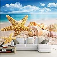 Djskhf 写真の壁紙カスタムHd 3Dステレオビーチヒトデ巻き貝テレビ背景壁紙リビングルームホテル壁紙壁画 360X250Cm