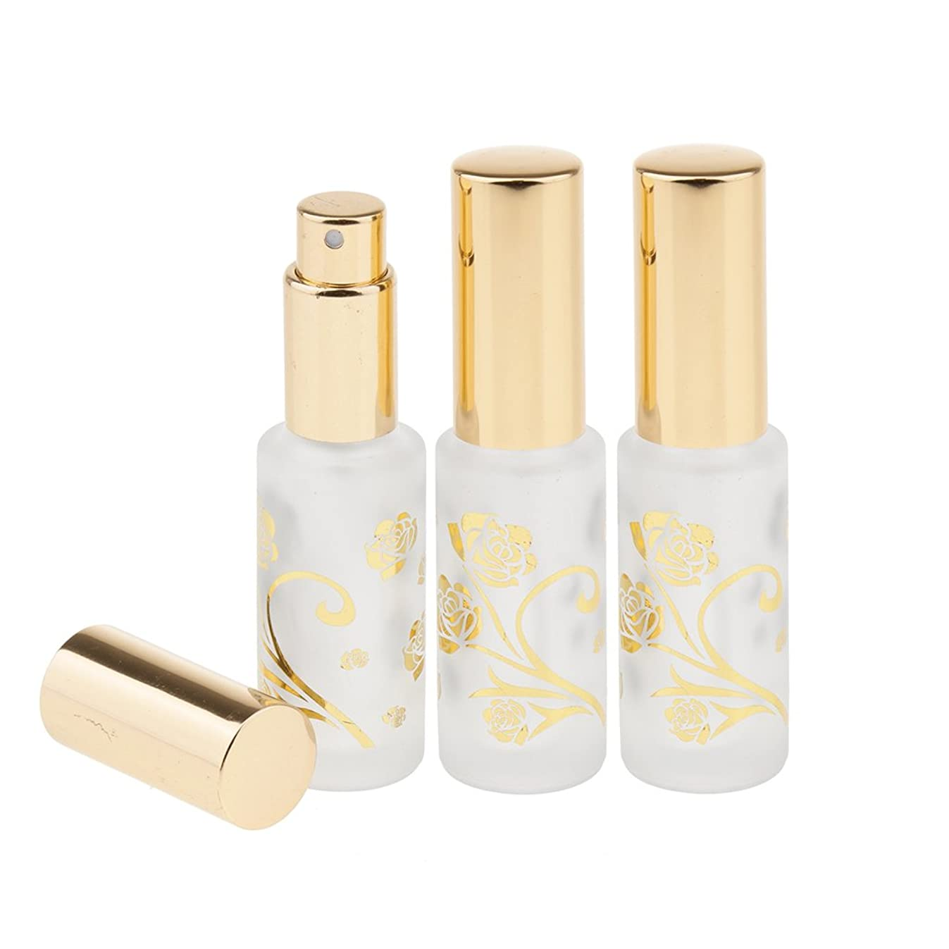 灌漑ホストやけどPerfk 3個 ボトル 香水ボトル 詰替え オイル 液体 化粧品 15ml 2色選べ - ゴールド