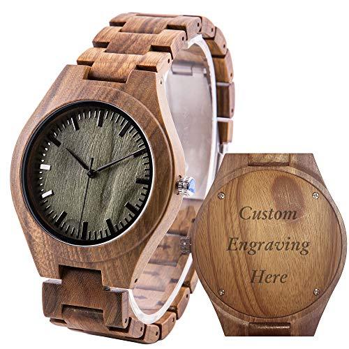 Reloj de pulsera de madera grabada para hombre, de madera de sándalo, analógico, de cuarzo, personalizado, de aniversario, para marido, novio
