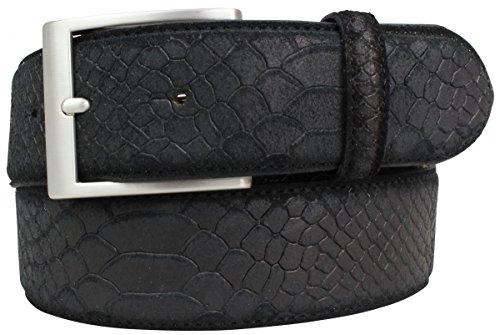 Gürtel mit Pythonprägung 4,0 cm | Leder-Gürtel für Damen Herren 40mm Schlangen-Optik | In Schwarz Blau Grau Pink Schlangen-Muster...