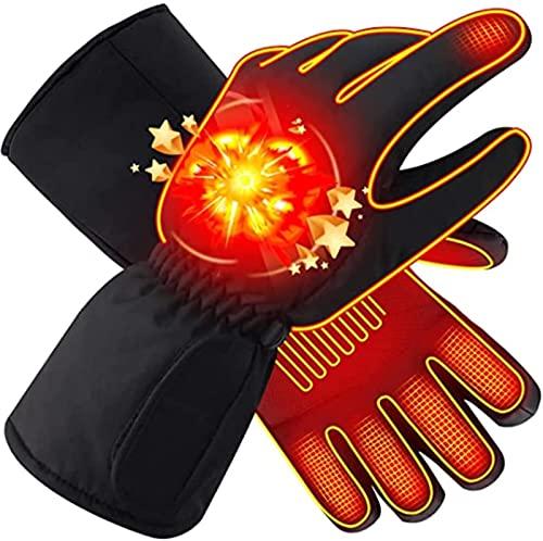 Guantes térmicos, guantes térmicos eléctricos con batería recargable, 3 niveles de calentamiento con guantes térmicos de temperatura ajustable, guantes de invierno cálidos impermeables para cicl