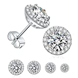 4 Pairs Stud Earrings Set,18K White Gold Plated Hypoallergenic Brilliant Round Halo Cubic Zirconia Earrings for Women Men 3-6mm