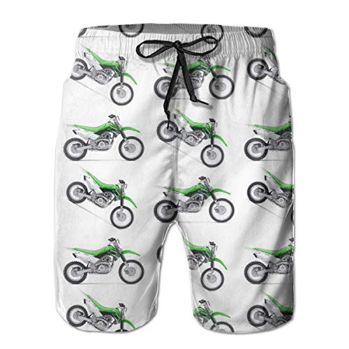 YongColer Men's Motorcycle Green Dirt Bike Colorful Patterned Short Swim Trunks Best Board Shorts for Sports Running Swim Beach Surfing Quick Dry Breathable Bathing Suits Holiday Party Swim Shorts(L)