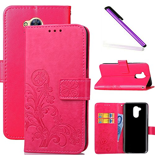 COTDINFOR Huawei Honor 6A Hülle für Mädchen Elegant Retro Premium PU Lederhülle Handy Tasche im Bookstyle mit Magnet Standfunktion Schutz Etui für Huawei Honor 6A Clover Red SD.