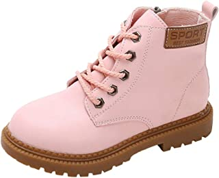 Hopscotch Girls PU Lace Solid Text Print Ankle Boot in Pink Color