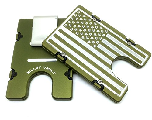 Aluminum Wallet with RFID Protection American Flag (green)
