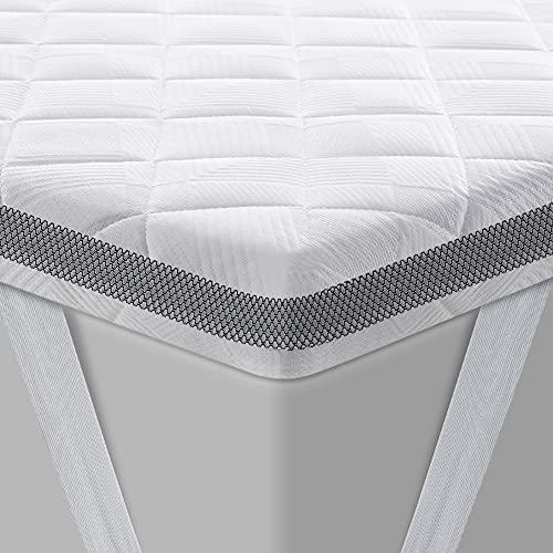 BedStory - Cubrecolchón (90 x 190 cm, HR espuma, gel infusado, colchón refrescante, espuma premium, confort óptimo, grosor 7,5 cm, con funda hipoalergénica, extraíble y lavable
