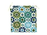TIENDA EURASIA® Pack de 4 Cojines para Sillas - Estampados Modernos - 2 Cintas de Sujeción - Ideal para Interiores y Exteriores - 40 x 40 x 3 cm (Mosaico Azul)