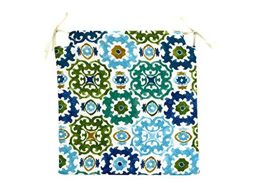 TIENDA EURASIA Pack de 4 Cojines para Sillas - Estampados Modernos - 2 Cintas de Sujeción - Ideal para Interiores y Exteriores - 40 x 40 x 3 cm (Mosaico Azul)
