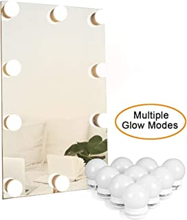 Waneway Hollywood Mirror Light Kit with Multiple Color Tones for Makeup Dressing Table, Plug in LED Vanity Lighting Strip Adhesive for DIY Lighted Mirror, 10 Lights, Mirror Not Included