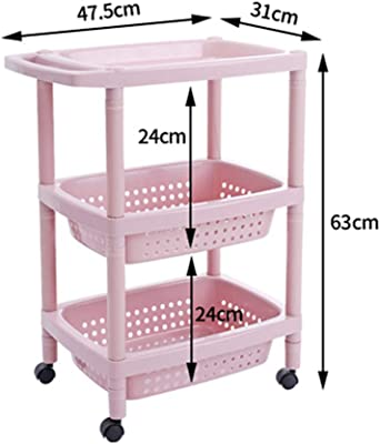 ZHAOHUI Shelving Trolley Mobile 3 Tier Moisture Proof Plastic Storage with Brake Universal Wheel, Carrying