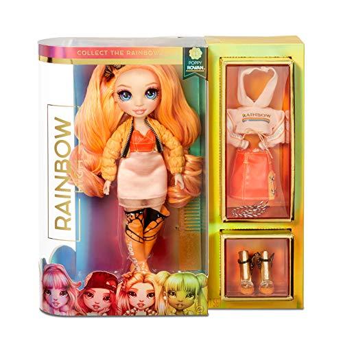 Rainbow High Poupée Mannequin - Poppy Rowan - Poupée thème orange avec vêtements luxueux, accessoires et socle - Série 1 - Parfait pour les filles de 6 ans et plus