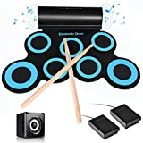 Hand-rolled silicone folding drum set, portable folding, 7-key drum set, two pedals, suitable for beginners, adults and children to practice drums, entertainment party instruments,Light Blue