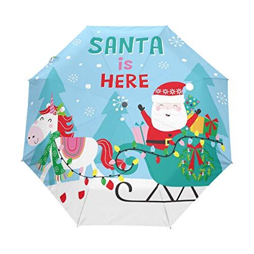 Regenschirm mit Weihnachtsmotiv und Schlitten, 3 Falten, automatisches Öffnen und Schließen, faltbarer Sonnenschirm, winddichter Regenschirm