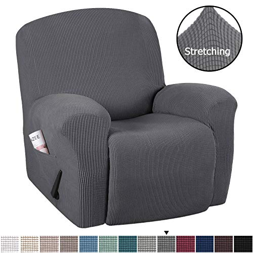 H.VERSAILTEX Stretch Recliner Slipcovers 1-Piece Durable Soft High Stretch Jacquard Sofa Furniture Cover Form Fit Stretch Stylish Recliner Cover/Protector (Recliner, Gray)