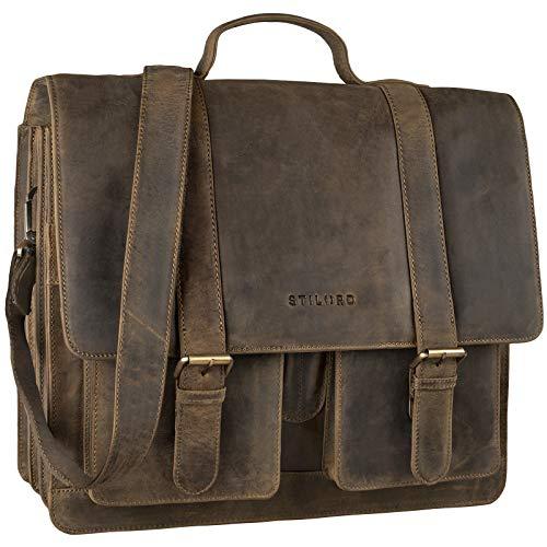 STILORD 'Marius' Klassische Lehrertasche Leder Schultasche XL groß Aktentasche zum Umhängen Businesstasche Laptoptasche echtes Rindsleder, Farbe:mittel - braun