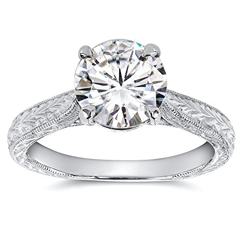 Kobelli Antique Style Moissanite Engagement Ring 1 1/2 CTW 14k White Gold, Size 8.5