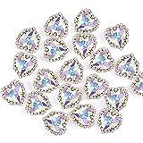 Heart Rhinestones 20pcs Sew on Rhinestones Buttons Embellishments with Diamond,14mm Heart Rhinestones Flatback,AB