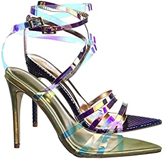 Clear High Heel Pointed Open Toe Iridescent Strappy Dress Sandal