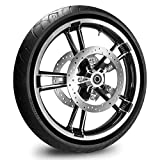 21X3.5 Enforcer Wheel for Harley Touring Bagger fits 2008-Above models (W/ABS) w/Tire & Rotors (w/bolts) (Contrast & Black Wall Tire)