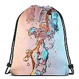 Bubbles in Water Cordon de Serrage Sac à Dos de Sport Sac à Dos de Yoga léger pour Gymnase Sac à Dos de Plein air décontracté 36 x 43 cm / 14,2 x 16,9 Pouces