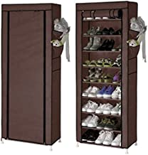 MSE Designer Brown Colour Fancy 9 Layer Portable-Foldable Multi Utility Easy Installation Stand for Shoes For 30 Pair Of Shoes