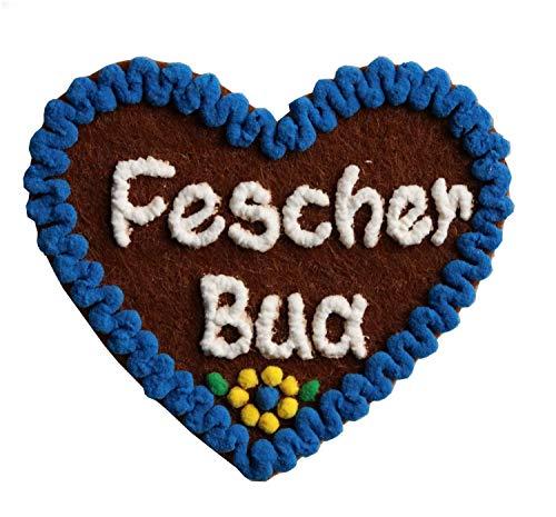 Anstecker Filzherz Fescher Bua für Junggesellinnenabschied Junggesellenabschied Oktoberfest Dirndl Accessoires mit Namen - Namensschild Herz personalisiert Button Brosche Ansteckbutton