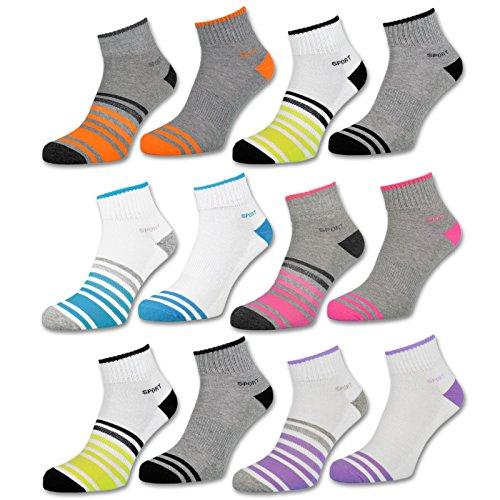6 oder 12 Paar Sneaker Socken Damen Sport verstärkte Frotteesohle Sportsocken Damensocken - 36850/23 (39-42, 6 Paar | Farbmix)