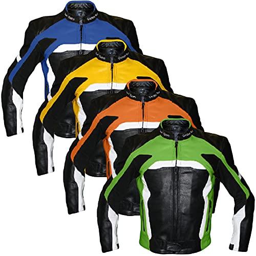 German Wear Motorradjacke Lederjacke Biker lederjacke 4x Farbauswahl, Frabe:Grün;Größe:5XL