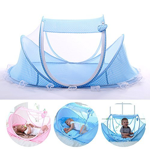 LUCKSTAR Baby Travel Bed - Fold Baby Bed Mosquito Net Netting Play Tent House for Baby/Kids (Blue) …