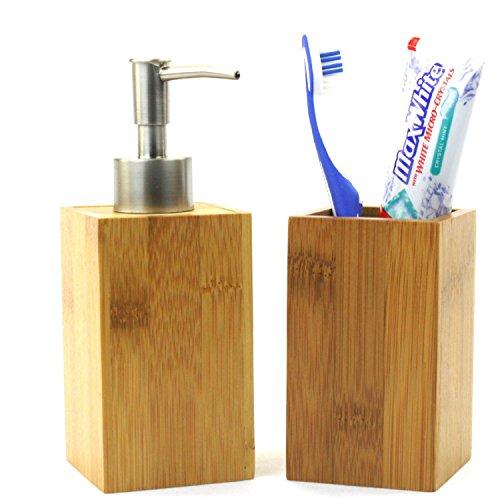 Bambus Seifenspender + Bürstenhalter & Zahnpastahalter