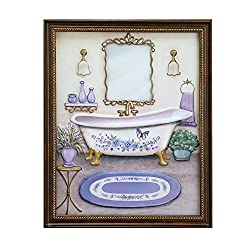 Collections Etc Lavender Bathroom Framed Wall Art Decoration