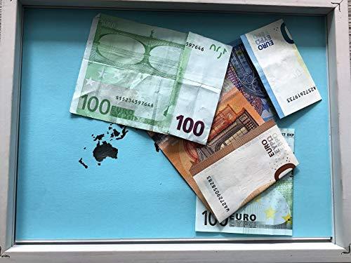 Geldgeschenk beschriftete Weltkarte im Bilderrahmen, Hochzeitsgeschenk, Geburtstag - 3