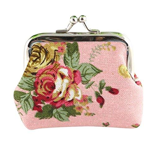 KIMODO Neue Geldbörse Damen Retro Vintage Flower Kleine Haspe Portemonnaie Brieftasche Geldbeutel Elegant Handtasche Frauen Mode Schwarz Weiß