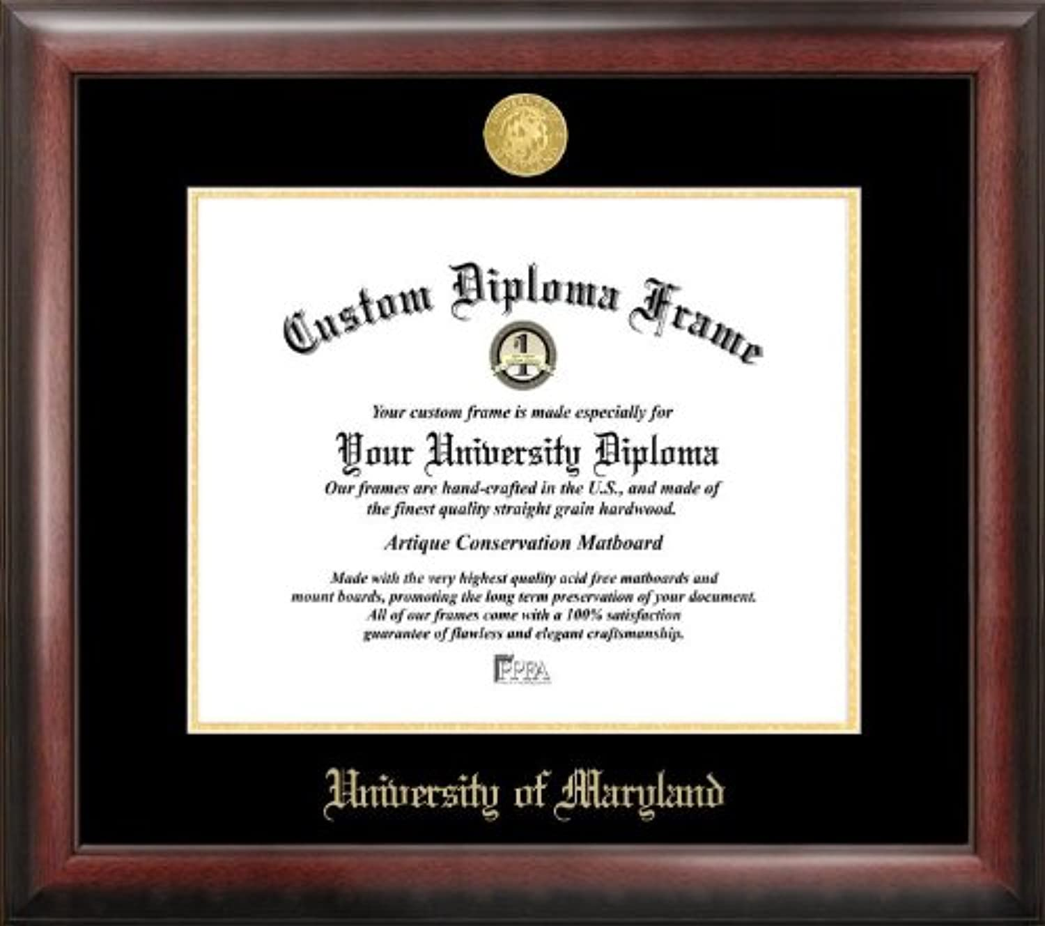Campus Images MD998GED University of Maryland Embossed Diploma Frame, 13  x 17 , gold