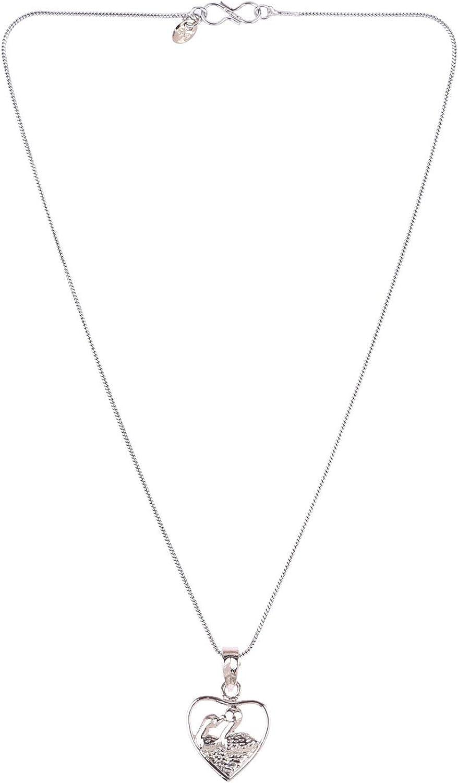 Efulgenz Cubic Zircon Heart Kissing Swan Love Pendant Chain Necklace CZ Jewelry Valentine Gift for Women Girls