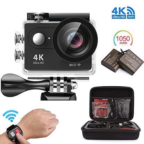 [Videocamera 4K Action] Videocamera 4K Action Impermeabile Wi-Fi Telecamera subacquea Schermo LCD da 12 pollici da 2 pollici