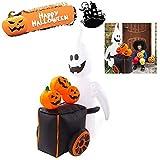 Decoración para el aire libre, fantasma de Halloween, fantasma hinchable de Halloween con carro de calabaza y carro