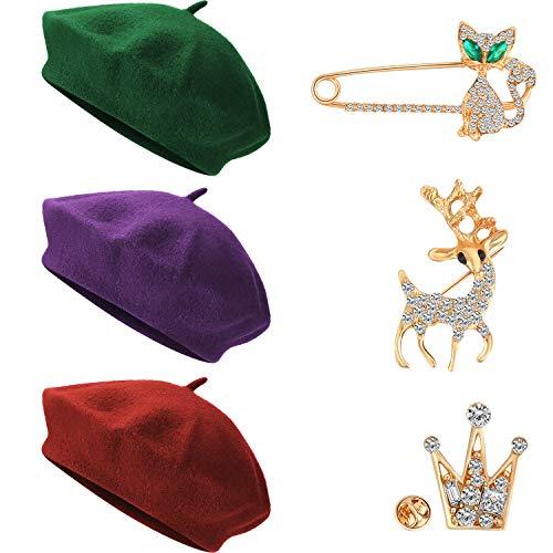 WILLBOND Sombrero de Boina de Mujer de Otoño Invierno Gorra Estilo Boina Estilo Francés con Broche de Oro (Color Conjunto 4)