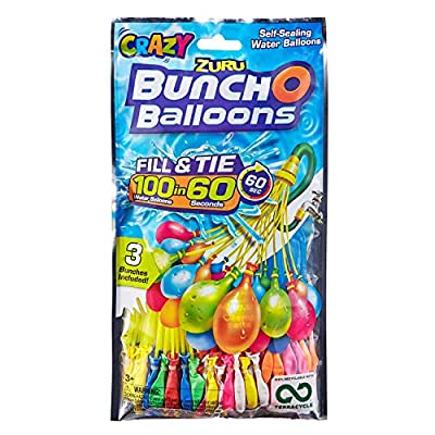 Bunch O Balloons 100 Rapid-Fill Crazy Color Water Balloons (3 Pack) by Zuru