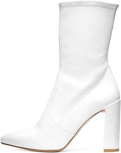 Elobaby mujer botas Pointed Suede High Heels Fiesta Y Noche Round Cerrado Punta Estrecha Stiletto