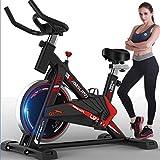 DRLGC Bicicleta giratoria para Interiores, Entrenamiento aeróbico, Bicicleta Suave con Volante de inercia de 18 KG, manija y Asiento Ajustables, Sensor de Ritmo cardíaco y Velocidad de Lectura