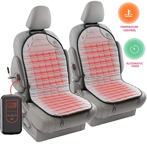 Zento Deals 12V Gray Warm Cushion Heated Car Seat Cover 2 Pack Upgraded Version...