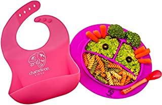 Baby Feeding Set - Silicone Bib Baby Spoon & Suction Plate for Toddlers/Babies - Easily Wipes Clean - Divided Silicone Placemat with Attached Bowl/Plate Aid Self Feeding - Fits Most Highchair Trays