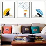 DFGRHG Paraguas de Gato de Dibujos Animados nórdicos Pintura Simple Lienzo Pintura Carteles de Arte de Pared decoración del hogar-40x60cmx3 (sin Marco)